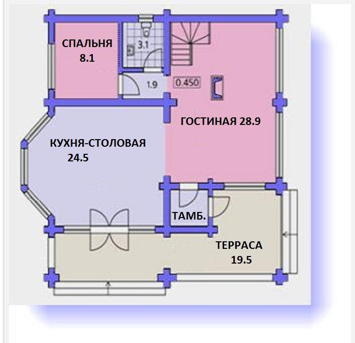На плане изображен первый этаж коттеджа с размерами 12x12.