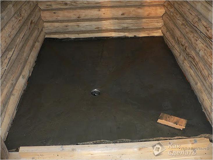 Бетонирование пола в помещении бани