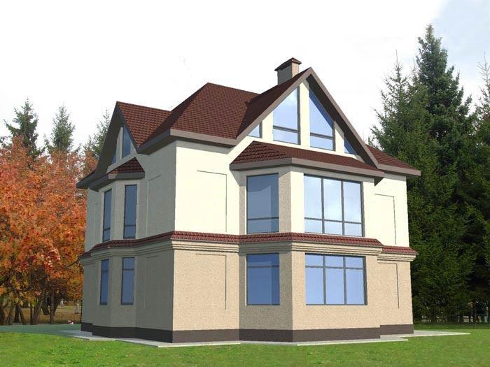 Так выглядит модель современного дома с размерами 12x12 – 3D-модель строится только после того, как был разработан проект постройки.