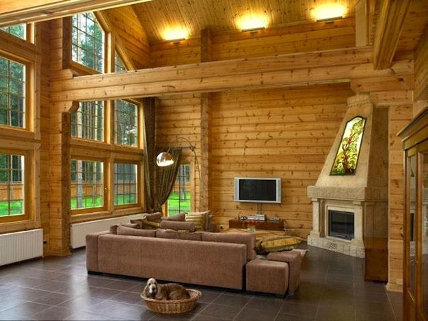 Один из вариантов дизайна для деревянного дома: здесь преобладает классический стиль.