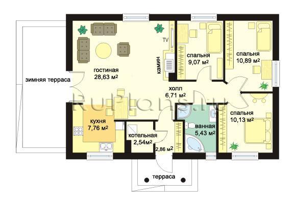 Схема внутренних помещений в одноэтажном доме 8 х 12 с котельной