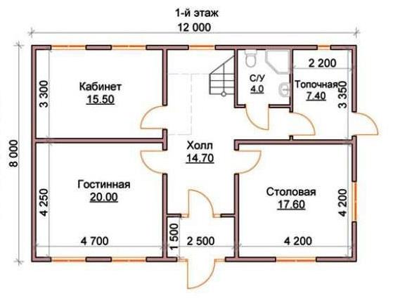 Планировка внутренних помещений первого этажа дома 12 х 8 м