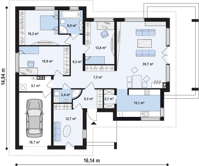 Это проект одноэтажного дома 10x10 с гаражом. Руководствуясь планом, строители учитывают все особенности при постройке.