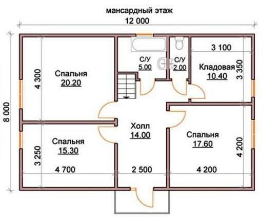 Планировка второго этажа для дома 12 х 8 м