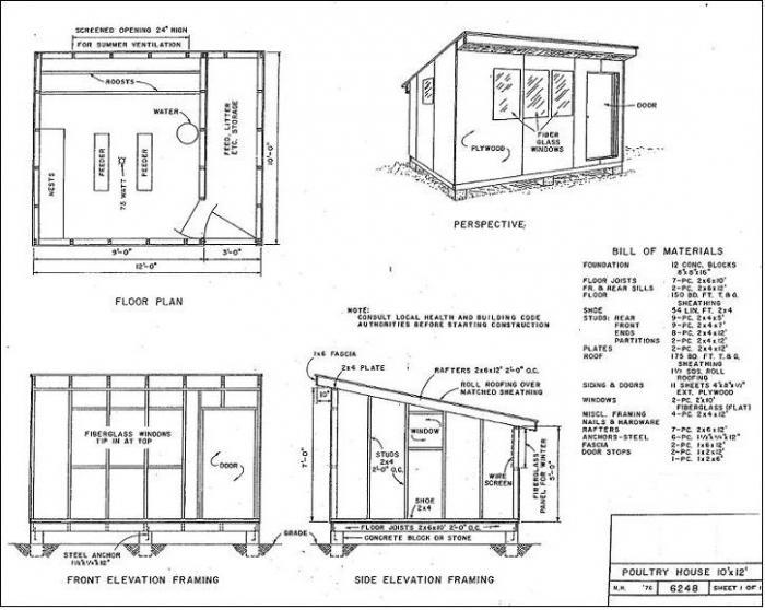 Схема строительства курятника