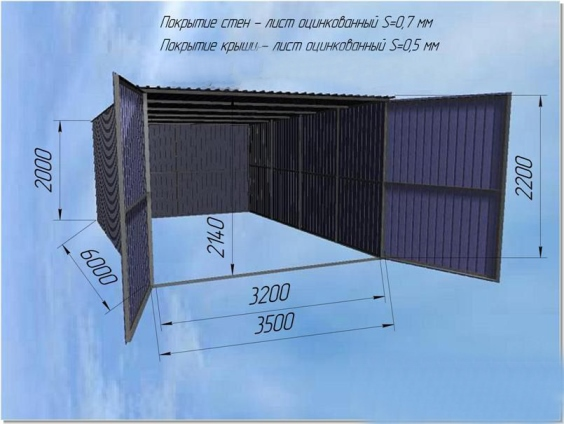На чертеже приведены приблизительные размеры гаража