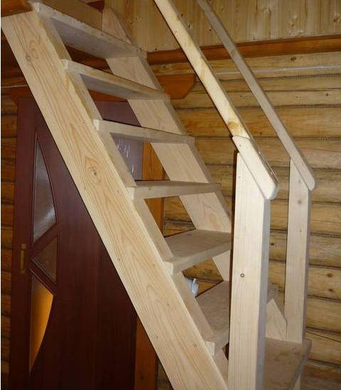 Так выглядит конструкция деревянной лестницы с тетивами.