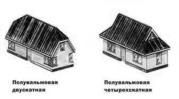 Полувальмовая четырехскатная крыша