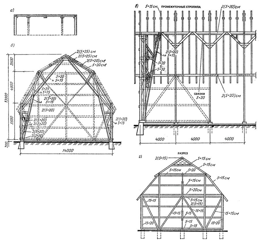 Пример чертежа полувальмовой крыши