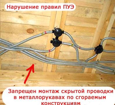 запрещенный монтаж проводки в деревянном доме