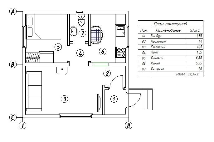 чертежи каркасных домов 2