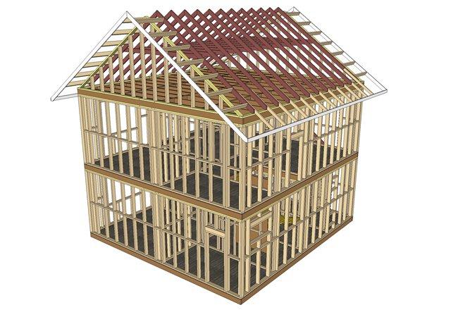 3D макет каркасного дома