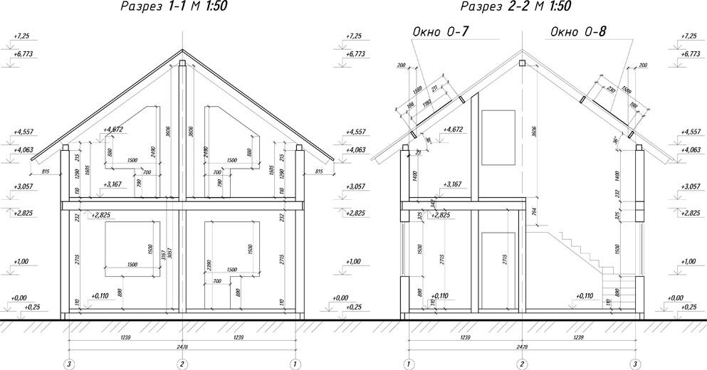 чертежи каркасных домов вид сбоку