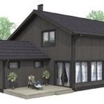 Проект интересного двухэтажного каркасного дома с двумя террасами