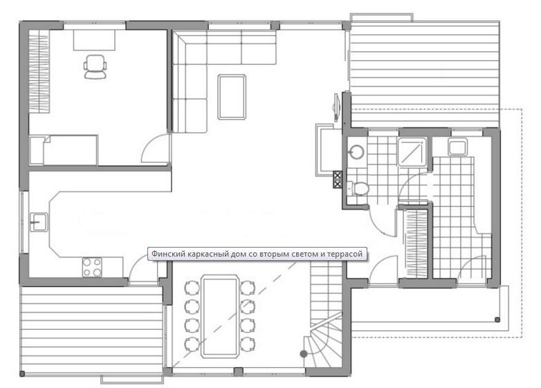 Проект интересного двухэтажного каркасного дома с двумя террасами (первый этаж)