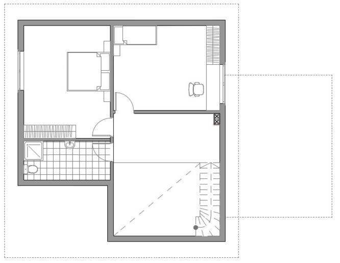 Проект интересного двухэтажного каркасного дома с двумя террасами (второй этаж)