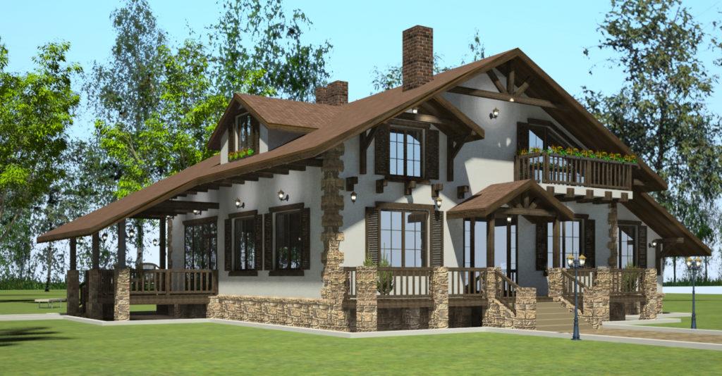 Проекты домов: одноэтажный индивидуальный дом с мансардой площадью 245 м2