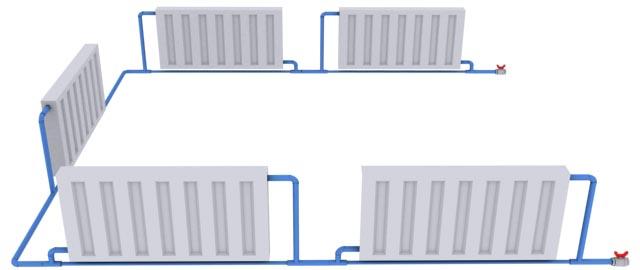 Однотрубная система отопления частного дома подразумевает последовательную установку всех приборов.