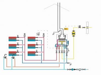 Двухтрубная схема обеспечивает равномерное распределение теплоносителя по всей системе.
