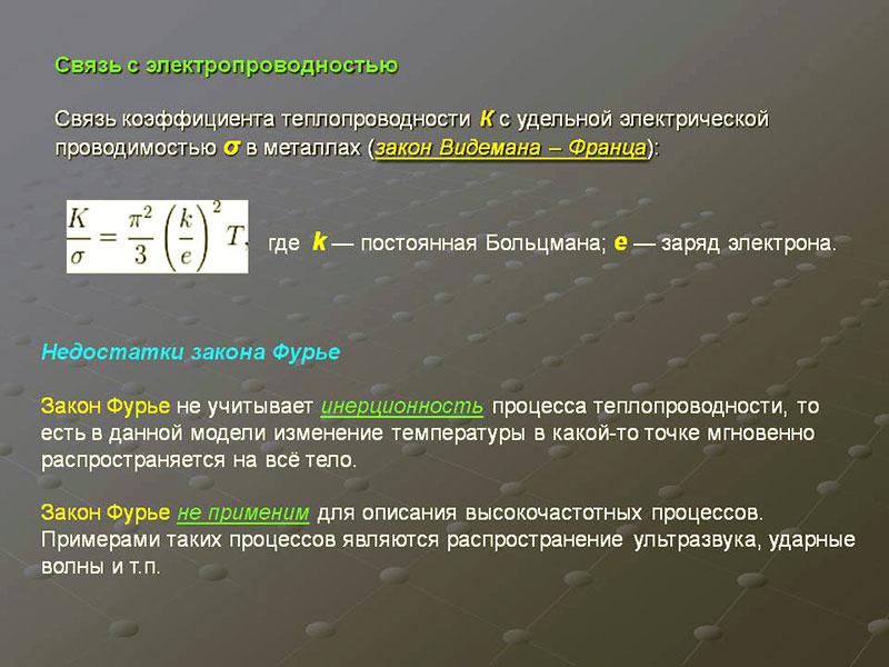 Связь коэффициента теплопроводимости с электропроводностью материалов