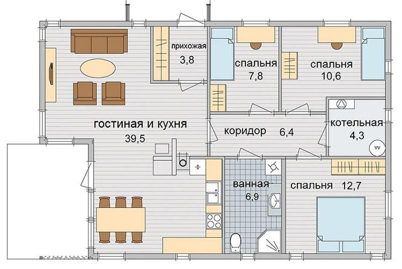 Проект одноэтажного частного дома с тремя спальнями
