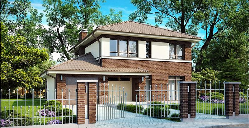 Двухэтажный кирпичный дом – индивидуальный проект