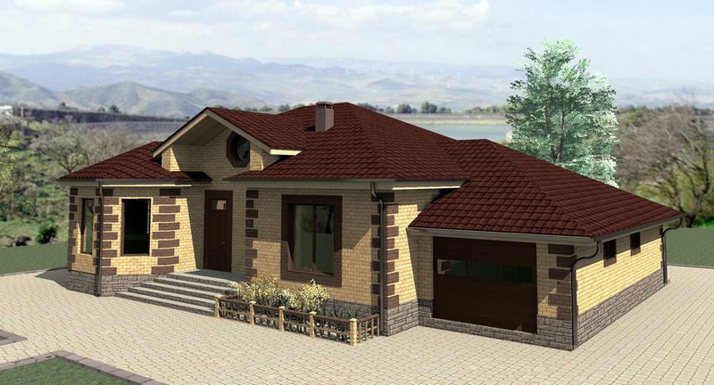 3-D визуализация проекта одноэтажного дома