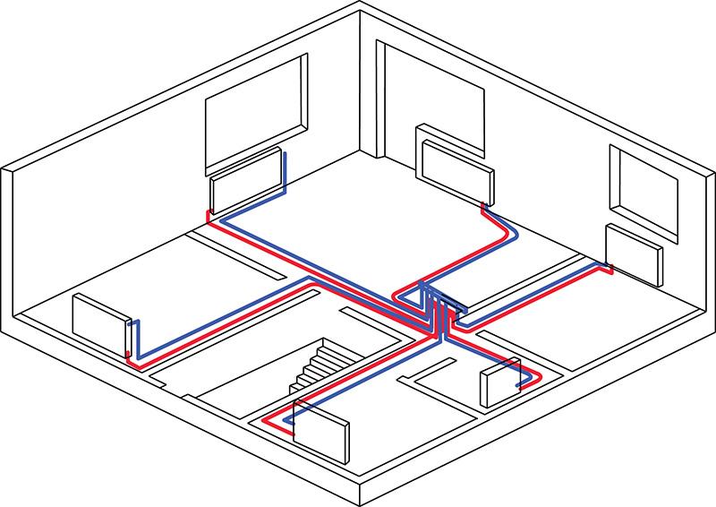 Монтаж двухтрубной системы