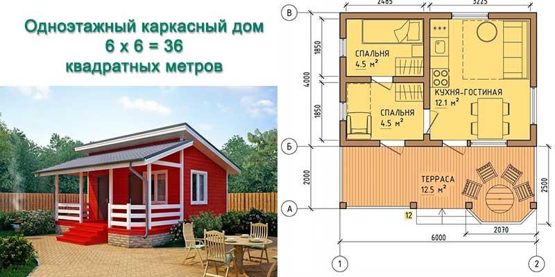 Типовой проект одноэтажного каркасного дома для маленькой семьи