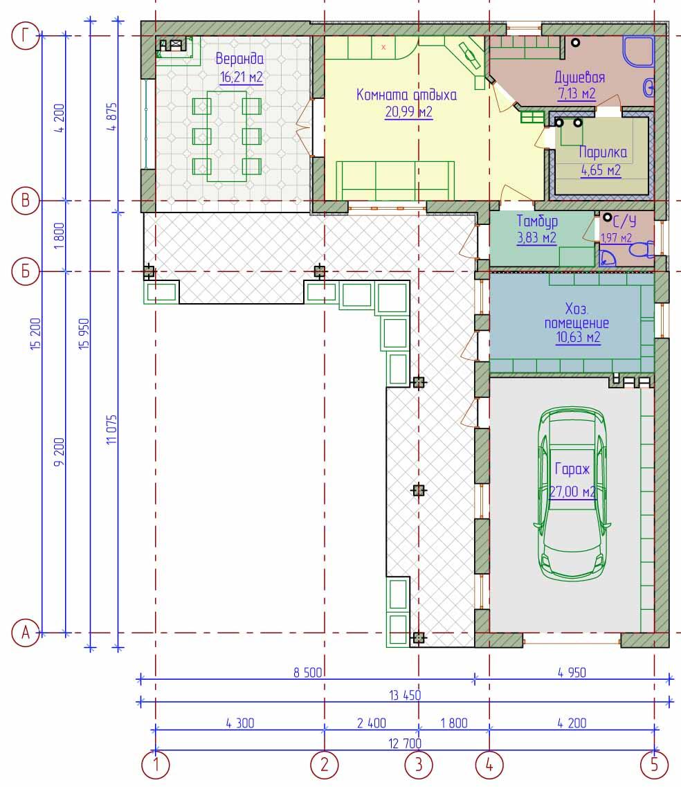 Вот примерная схема одноэтажного загородного дома с гаражом