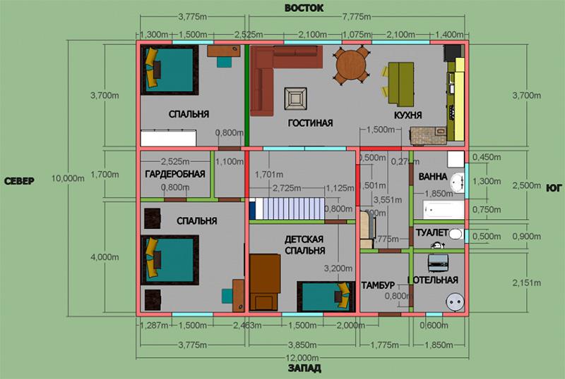 Типовой проект одноэтажного частного дома