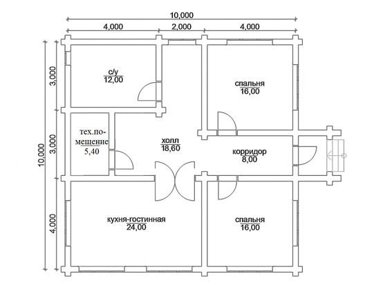 В этом доме предусмотрено 2 жилые комнаты и кухня-студия