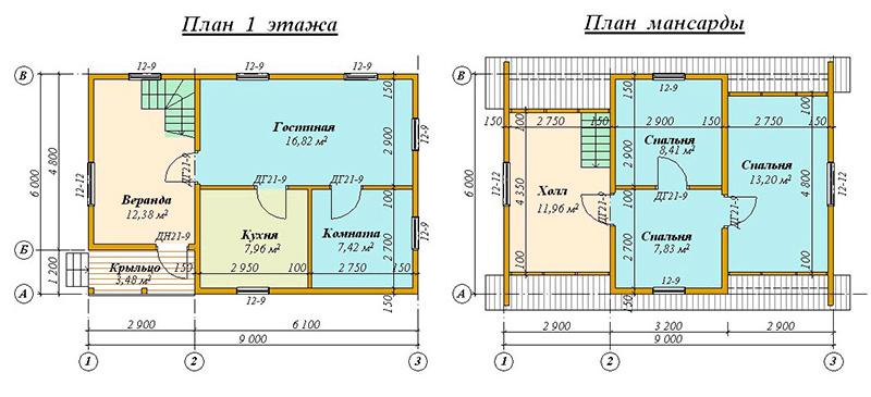 Типовой одноэтажный проект 6 х 9 м