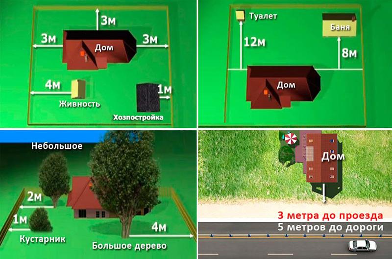 Схема размещения строений и растительности на участке