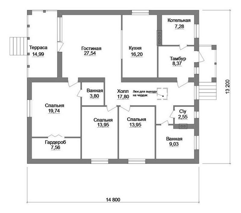 Индивидуальный проект дома с тремя спальнями