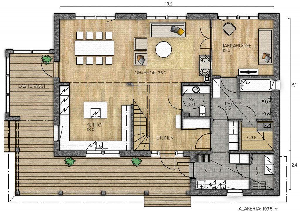 Вид сверху на типовую планировку дома 10 на 10