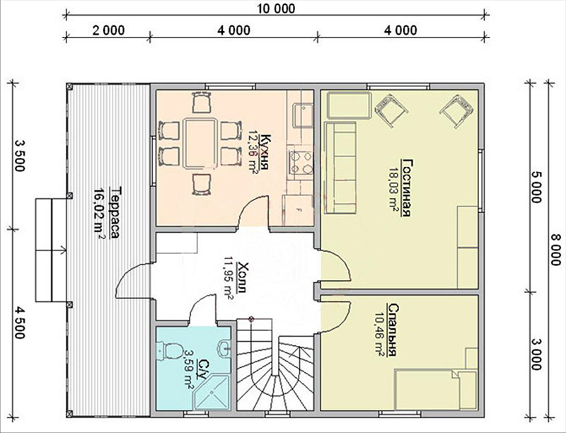 Одноэтажный проект 8 х 10 м