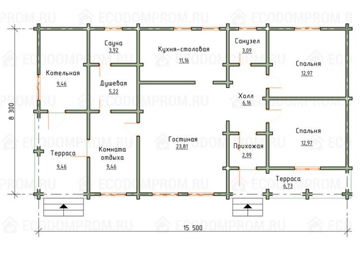 Примерная схема дома из бруса