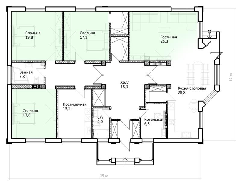Типовой проект – дом с тремя спальнями