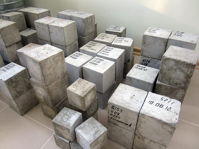 Образцы бетона в кубах