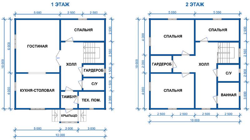 Проект двухэтажного дома 10 х 10 м