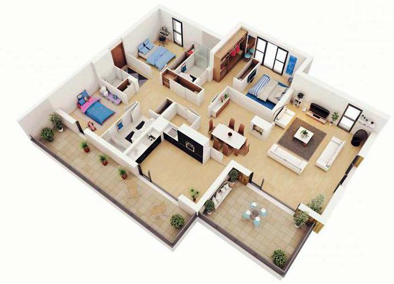 Визуализация проекта одноэтажного дома 12 х 12 м