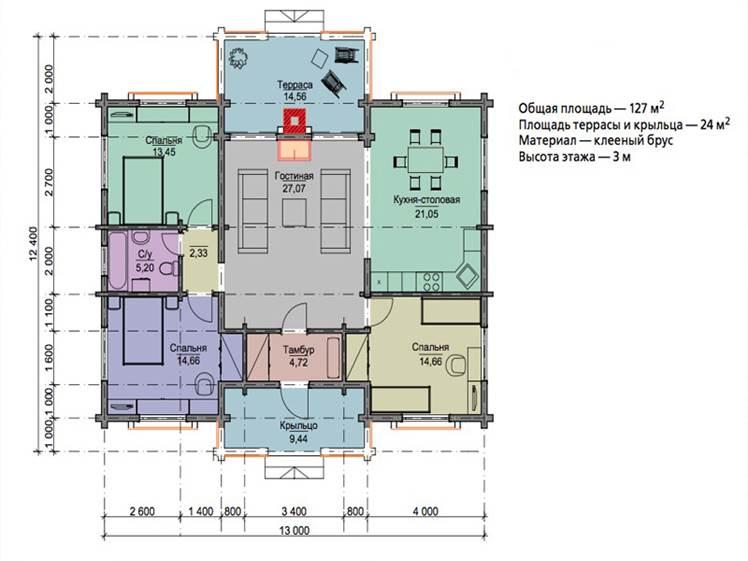 Схема 1. Первый вариант типового проекта одноэтажного дома