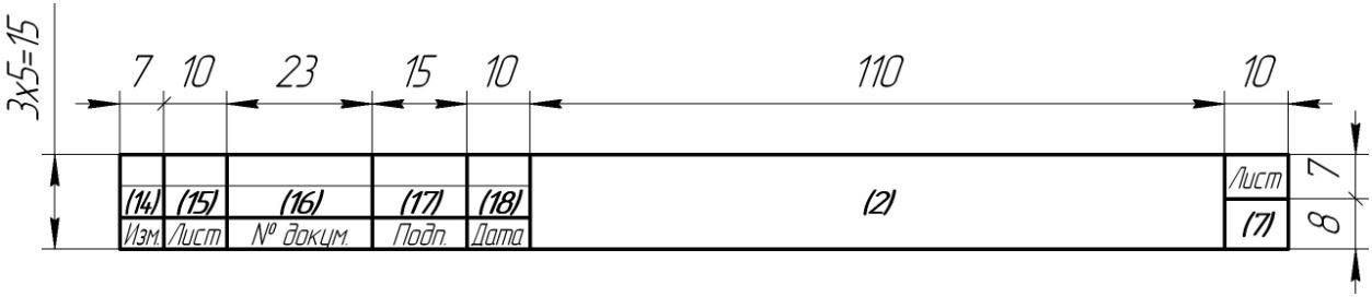 Основная надпись на последующих листах чертежа