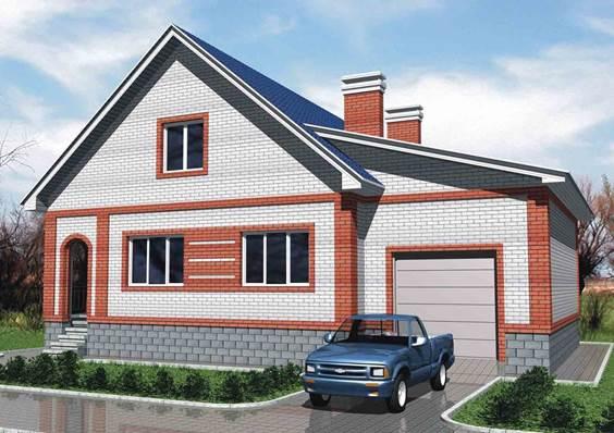 Кирпичный одноэтажный жилой дом с тремя спальнями