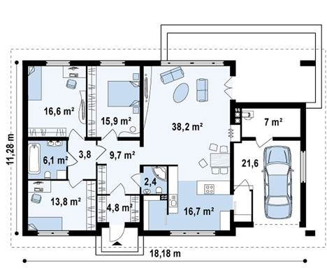 Одноэтажный жилой дом с 3 спальнями и гаражом