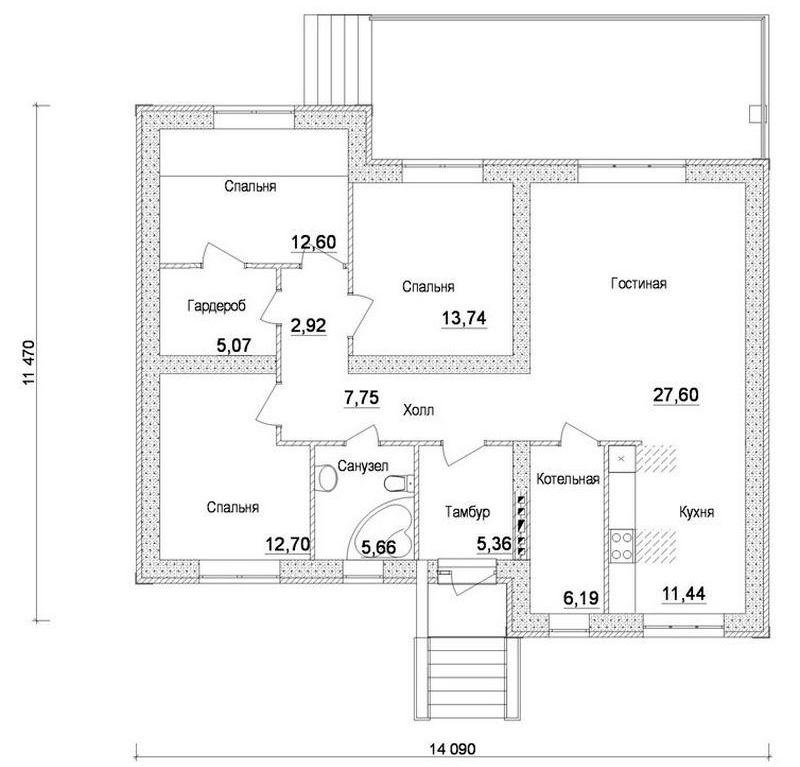 Проект, предлагающий совмещение спальной и гардеробной комнат