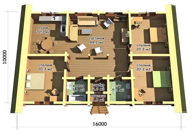 Проект планировки одноэтажного дома площадью 160 м2
