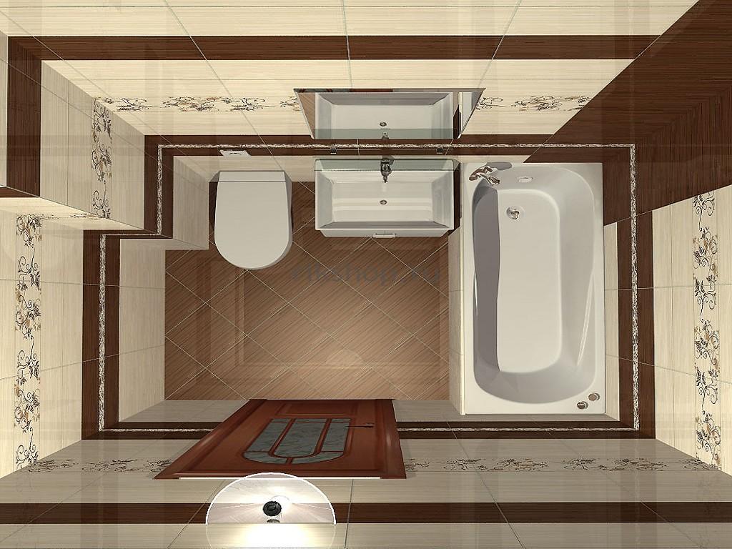 Вариант объединения ванной комнаты с санузлом
