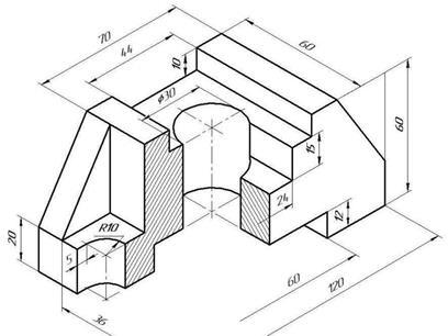 Пример использования различных типов чертежных линий